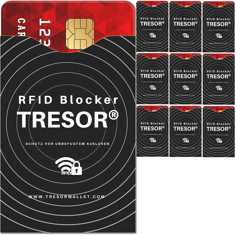 TRESOR® - RFID Schutzhülle Blocker 10er Set Hüllen gegen Datenklau für Kreditkarten, Personalausweis, EC-Karte, Ausweis, Pass - Sicherer Schutz Datenschutz vor RFID & NFC Datendiebstahl RFID-SIGNAL-STOPP