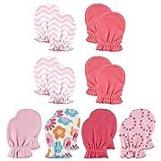 Luvable Friends Baby Scratch Mittens, Chevron Floral 8Pk, 0-6 Months
