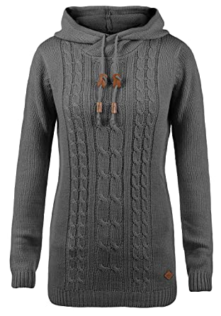 1650254e62663f DESIRES Cable Damen Winter Strickpullover Troyer Grobstrick Pullover mit  Kapuze, Größe:XS, Farbe