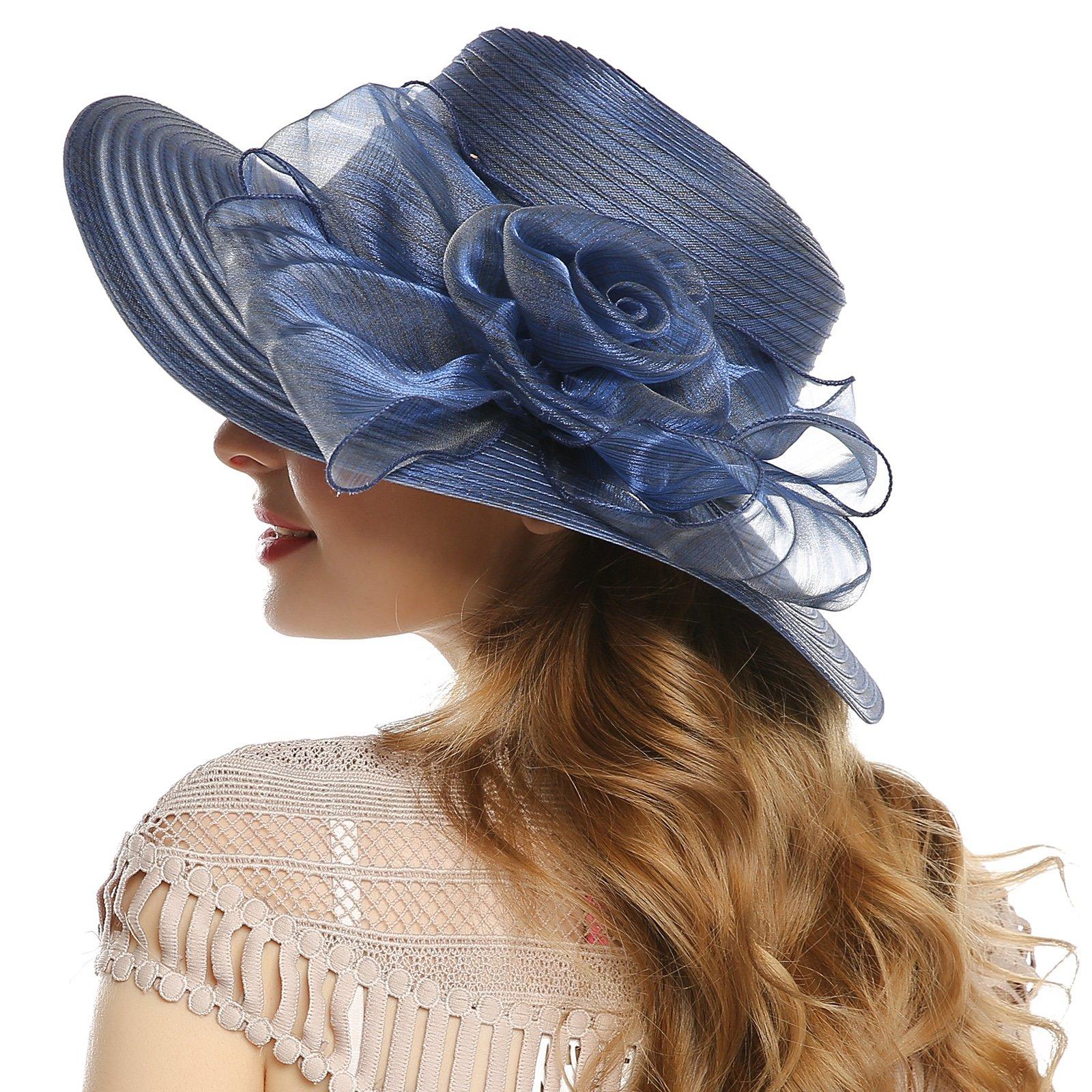 WELROG Women's Derby Church Dress Hat - Wide Brim Floppy Floral Ribbon UPF Protection Wedding Sun Hats(Navy Blue) by WELROG (Image #2)