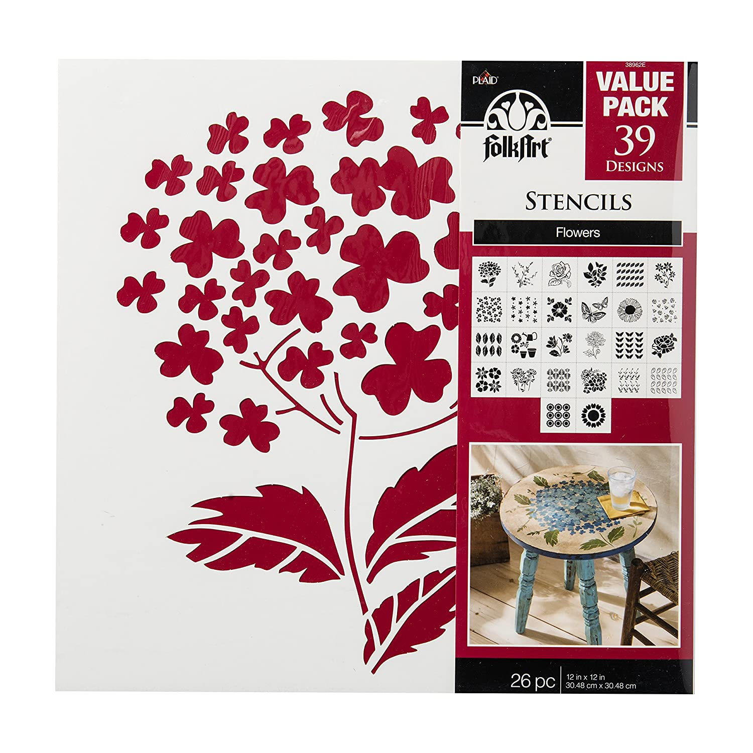 FolkArt Paper Stencil, 12 by 12-Inch, 38962E Flowers Value Pack