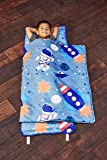 EVERYDAY KIDS Toddler Nap Mat w/Removable Pillow -Outer Space Adventures- Carry Handle with Straps Closure, Rollup…