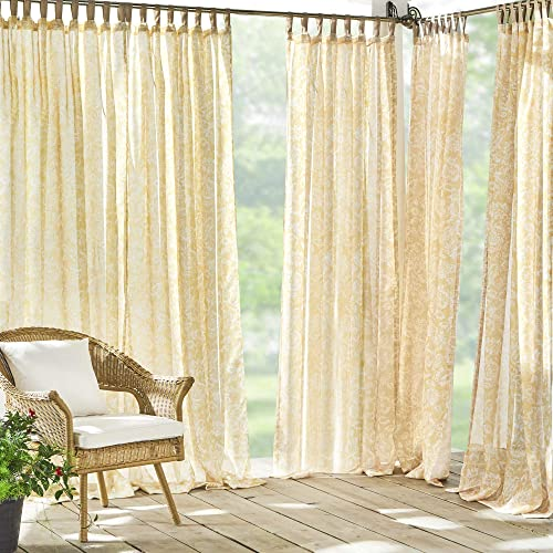 Best window curtain panel: Elrene Home Fashions Verena Floral Sheer Indoor/Outdoor Adhesive Loop Fastener Tab Top Window Curtain Panel