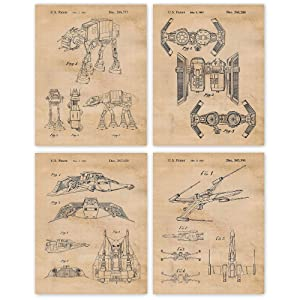 Vintage Star Wars Patent Art Poster Prints, Set of 4 (11x14) Unframed Photos, Wall Art Decor Gifts Under 25 for Home, Office, Garage, Studio, Man Cave, College Student, Teacher, Comic-Con & Movies Fan