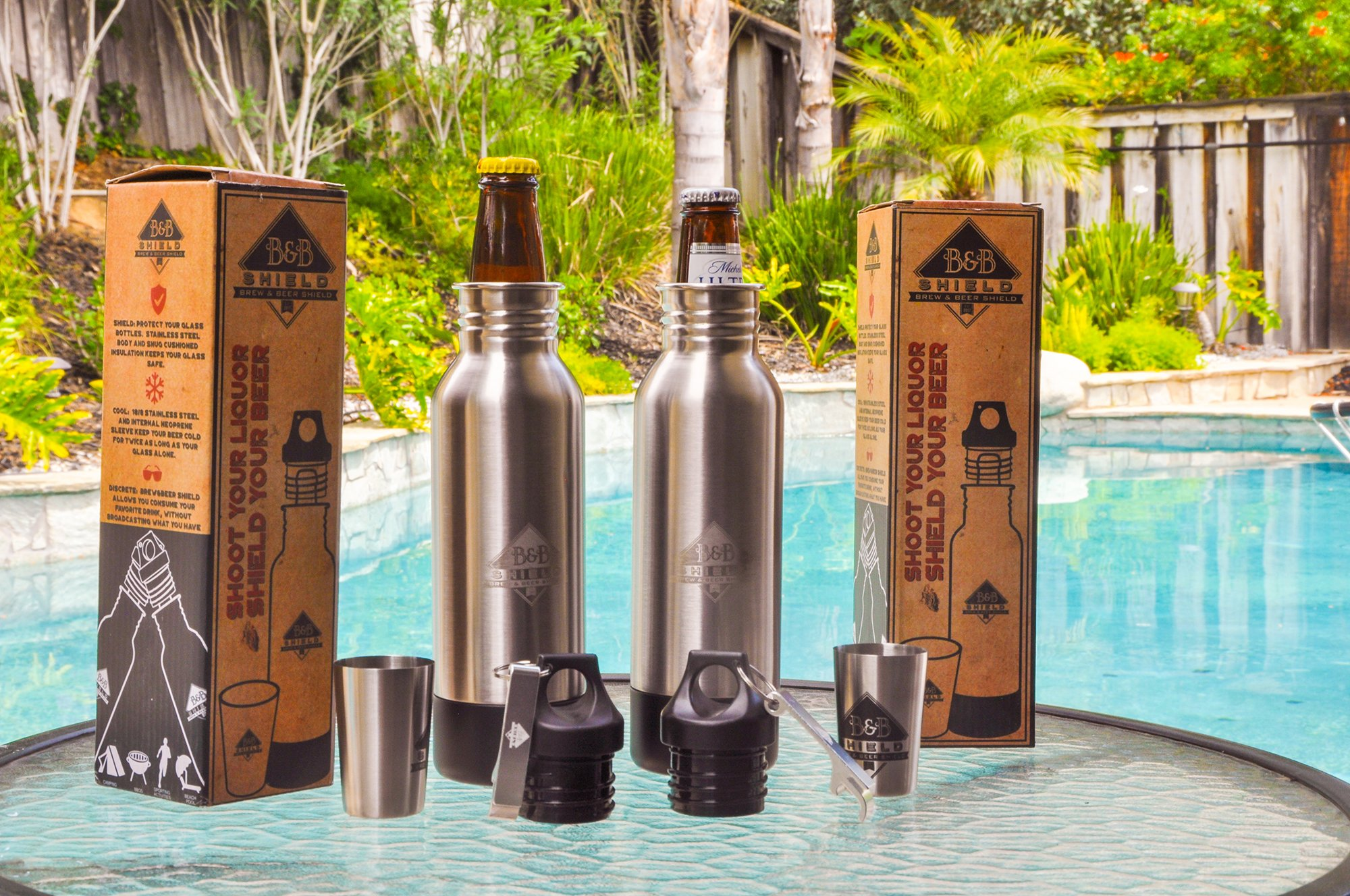 Brew & Beer Shield: Stainless Steel Beer Insulator Protect Conceal 12 ounce glass bottles. Ideal beer lover gift. Perfect for Pool Spa Beach Tailgating Beer Bottle Holder Keeper
