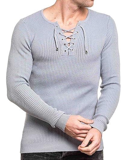 21f06753ac5d1 BLZ Jeans - Pull Homme Fin Gris Moulant col v  Amazon.fr  Vêtements ...