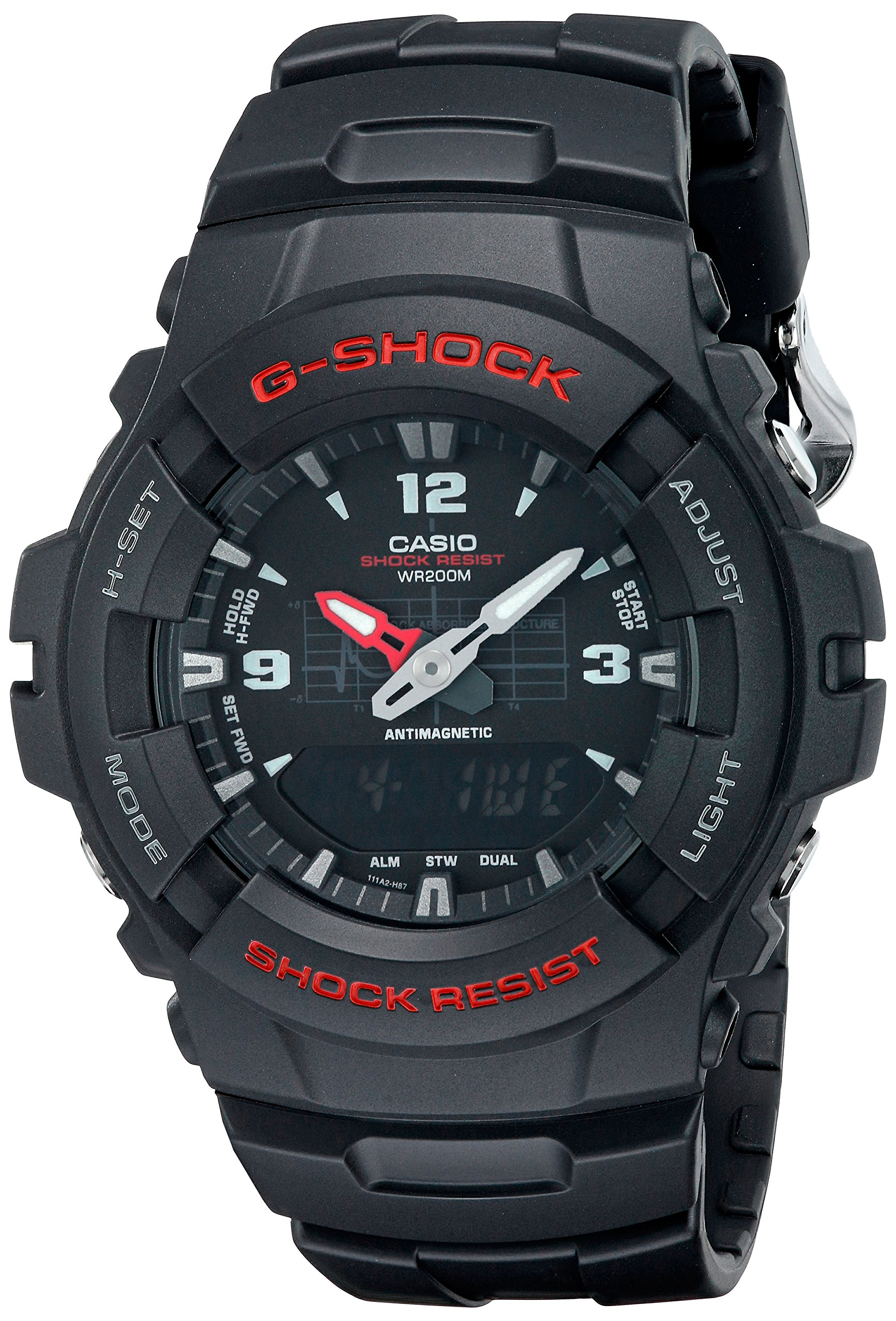 Casio Men's G-Shock G100-1BV Black Resin Sport Watch