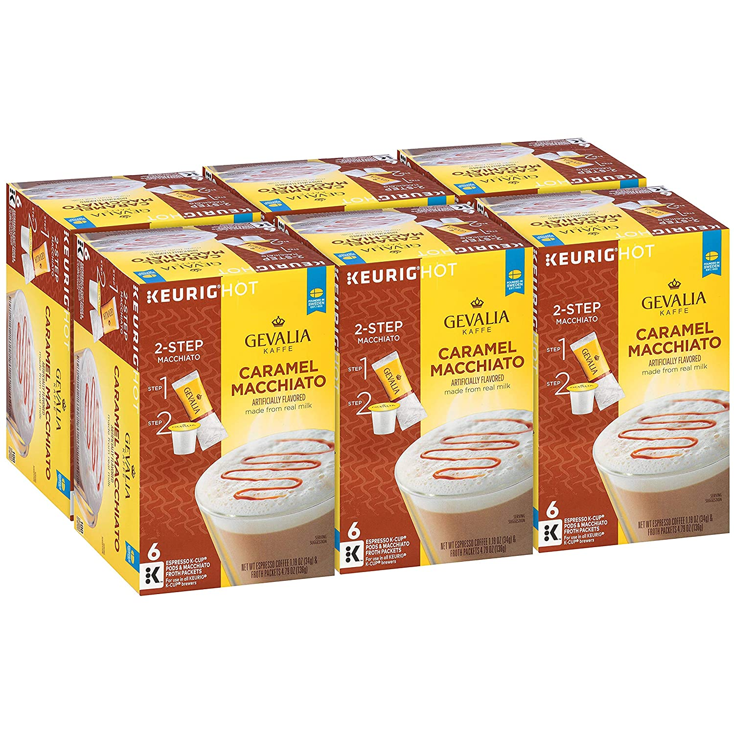 GEVALIA Caramel Macchiato Latte Coffee, K-CUP Pods, 5.98 oz, (36 Count,Pack - 6)