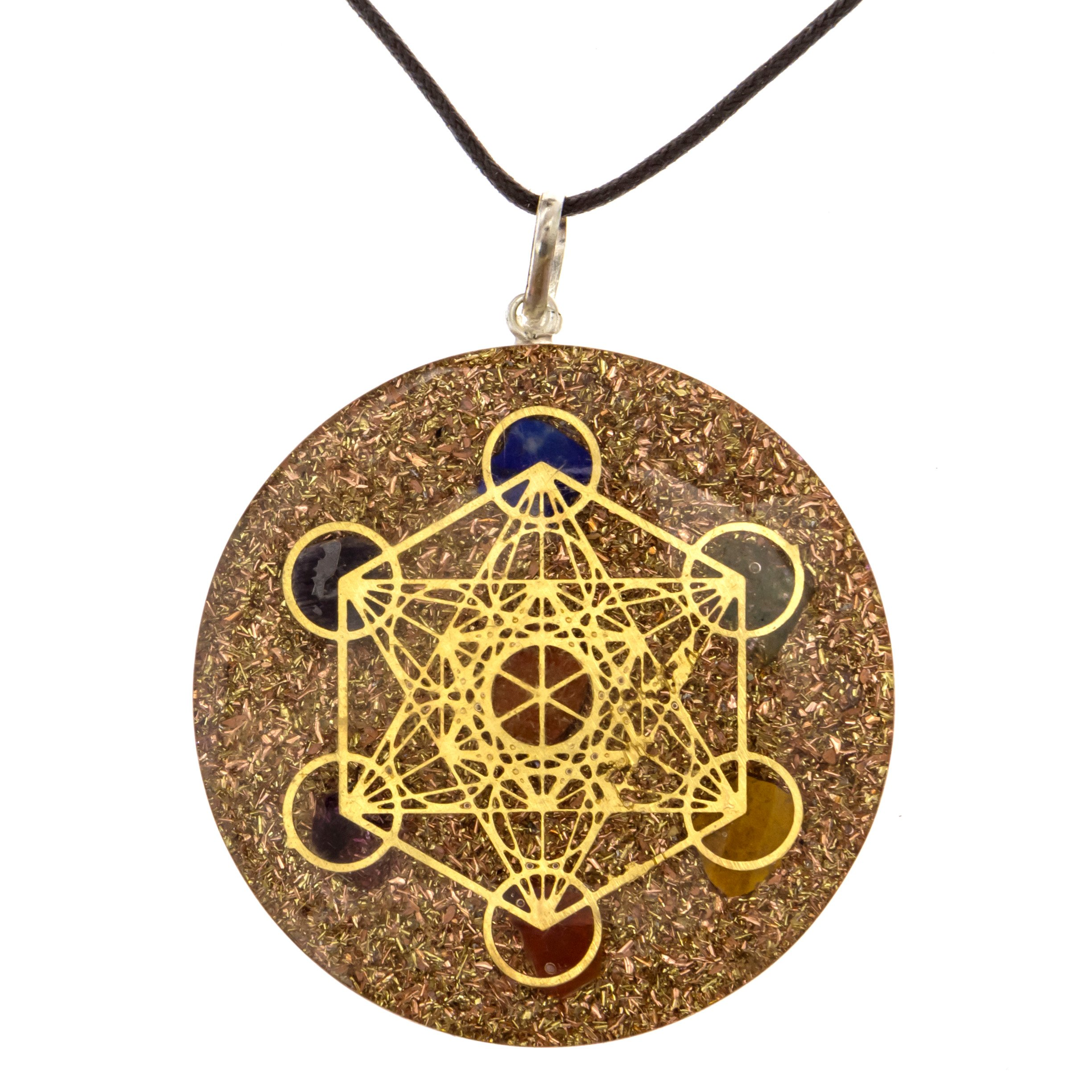 Orgone Metatron's Cube Merkaba Seven Chakras with Crystal Stones Orgone Pendant | Orgonite Pendant for Sale, Protection, Reiki, Powerful