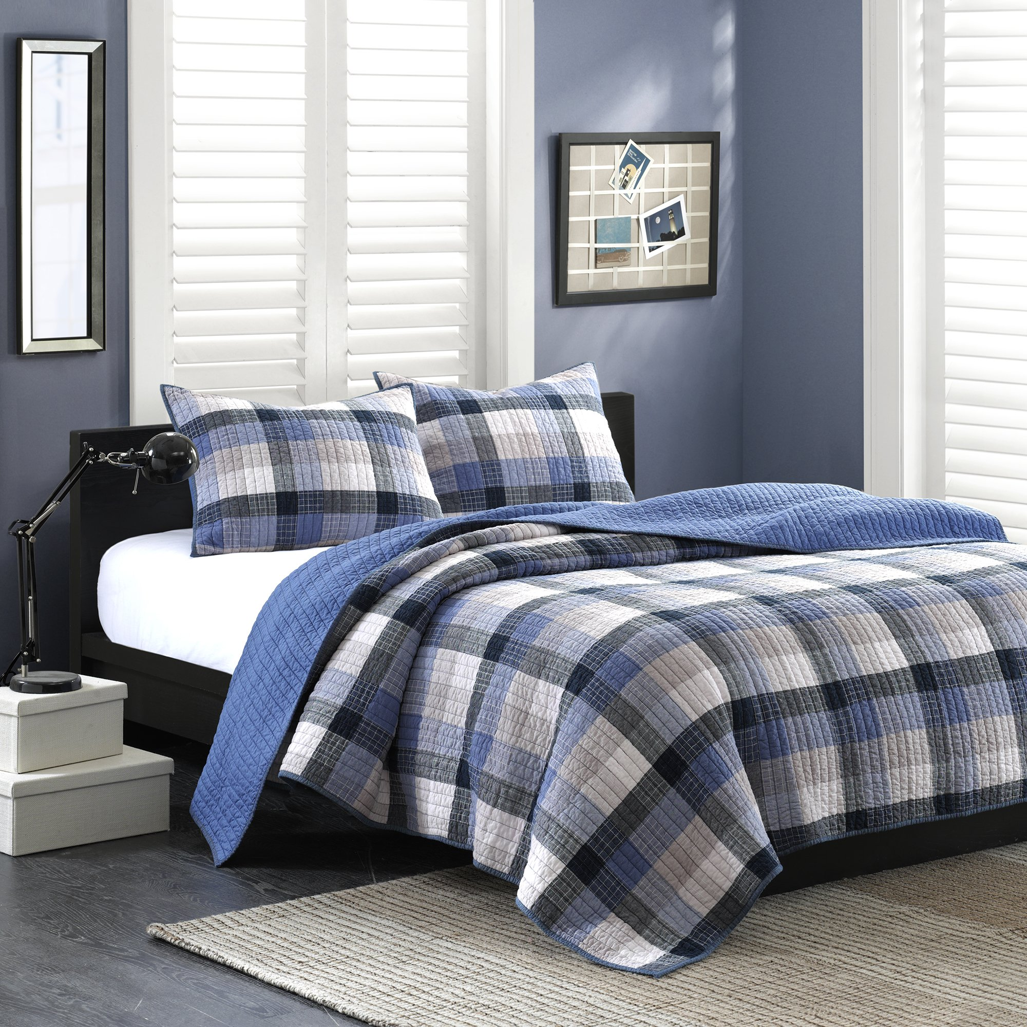 Ink+Ivy Maddox Twin Size Teen Boys Quilt Bedding Set - Navy, Black, Plaid – 2 Piece Boys Bedding Quilt Coverlets – 100% Cotton Yarn And Cotton Percale Bed Quilts Quilted Coverlet