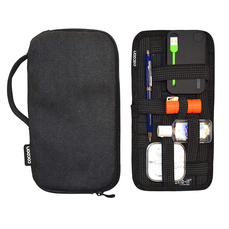 Accessory Organizer Black Cocoon CSG270BK Waxed Canvas Gadget Case Includes Grid-IT