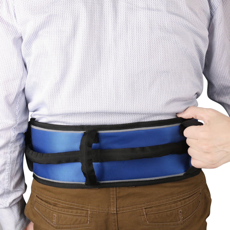 Tommhanes Gait Belt Gait Transfer Belt 4 Vertical Handles 3 Transverse Handles And Three - Dimensional Soft Design Gait Belt One Size Blue