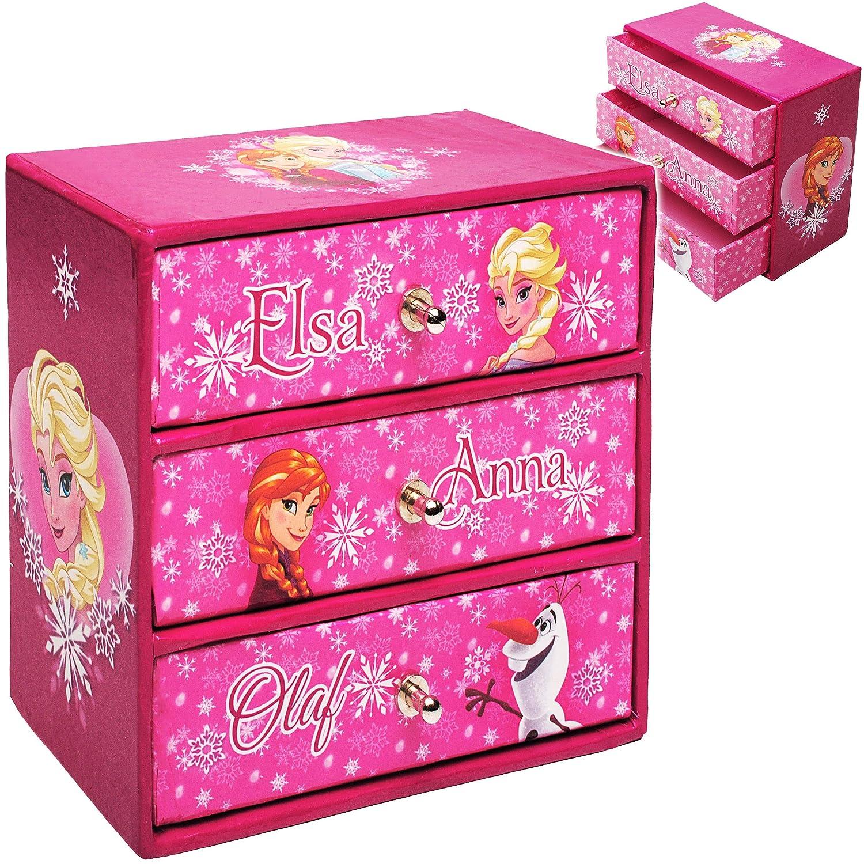 alles-meine.de GmbH Schmuckkasten - mit 3 Schubladen - Disney die Eiskönigin - Frozen - inkl. Name - Mädchen - z.B. für Schmuck - Schmuckbox Schmuckkästchen / Schmuckdose - Box /..