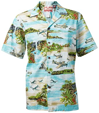 29b5428e795431 RJC Aqua Hawaiian Shirt with WWII South Pacific Aircraft at Amazon ...