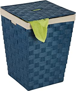 Honey-Can-Do HMP-03730 Woven Hamper with Natural Cotton Liner and Lid, Blue, 15W x 20H