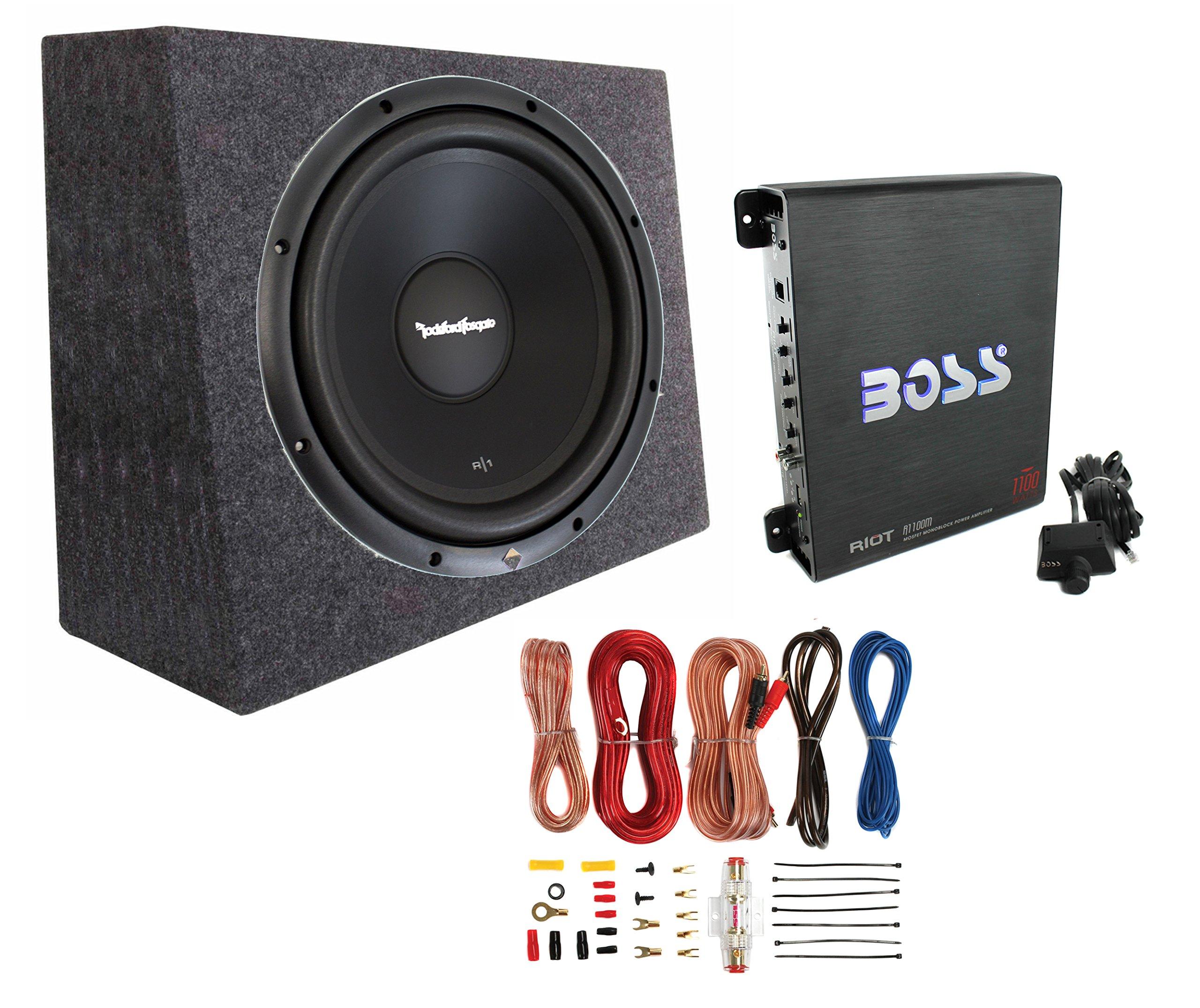 Rockford Fosgate R1S4-10 10'' 300W Subwoofer + Sealed Box + Mono Amp + Wiring Kit