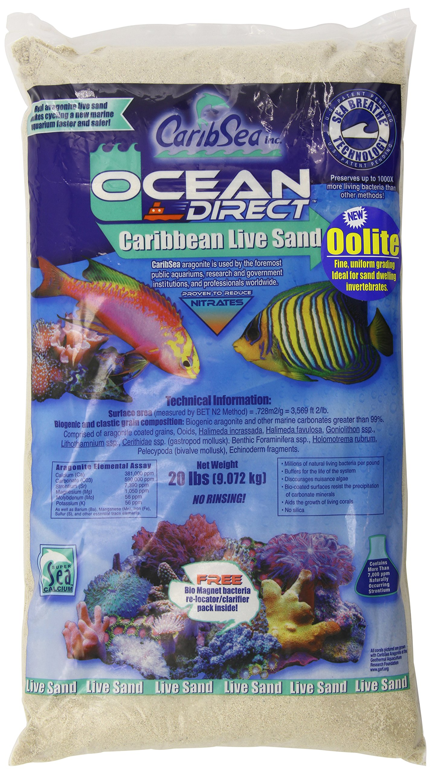 Carib Sea ACS01920 Ocean Direct Oolite Sand for Aquarium, 20-Pound, PAck of 2 by Carib Sea