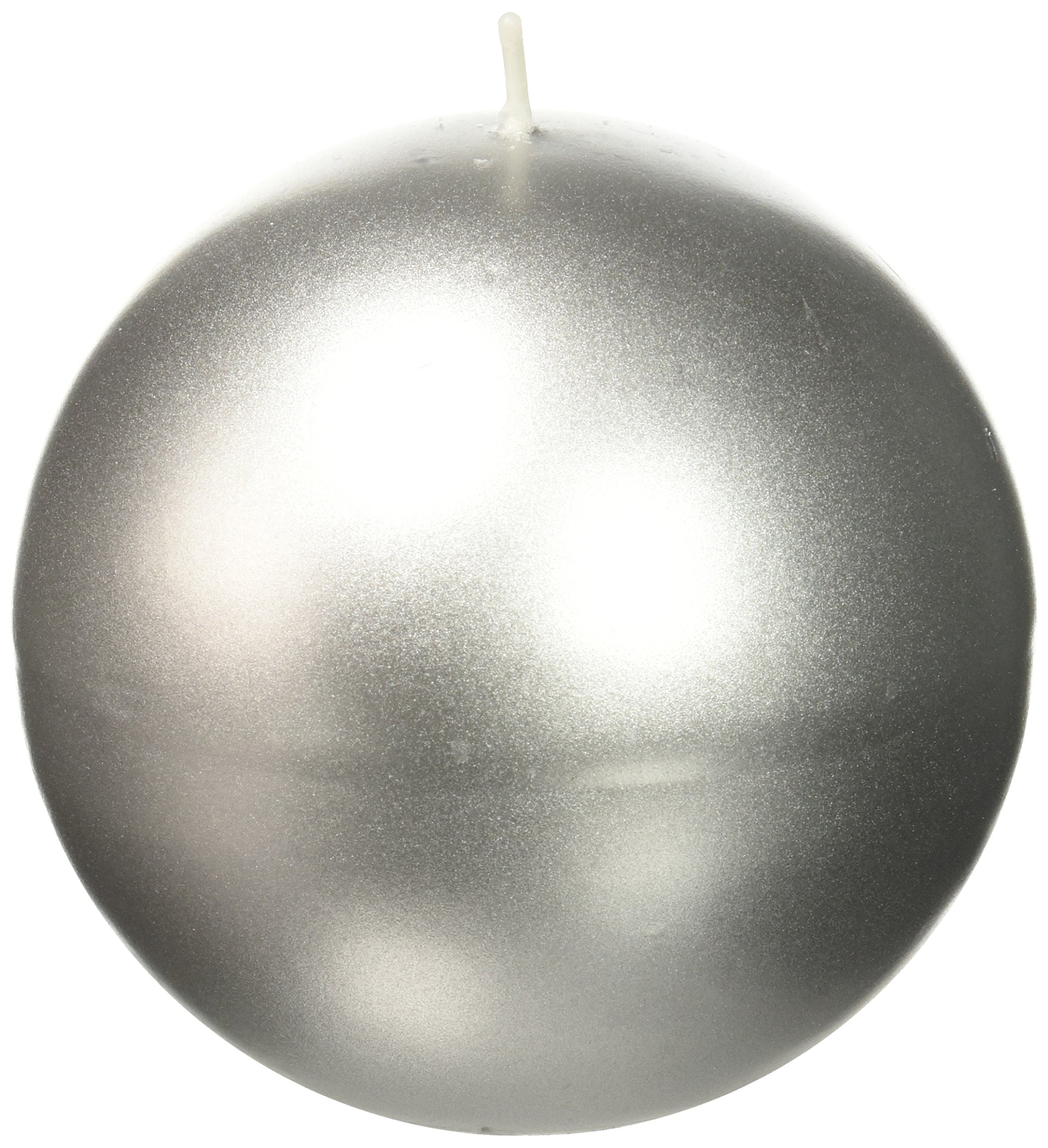 Zest Candle 2-Piece Ball Candles, 4-Inch, Metallic Silver by Zest Candle