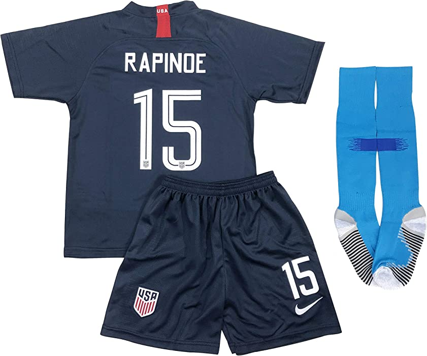 40c4f606b39 New 2019 Megan Rapinoe #15 USA National Team Away Soccer Jersey Shorts &  Socks for Kids/Youths