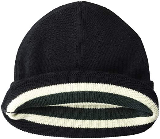 83c61a98b Fred Perry Men's Merino Wool Beanie Cold Weather Hat, Navy/Ecru, One ...