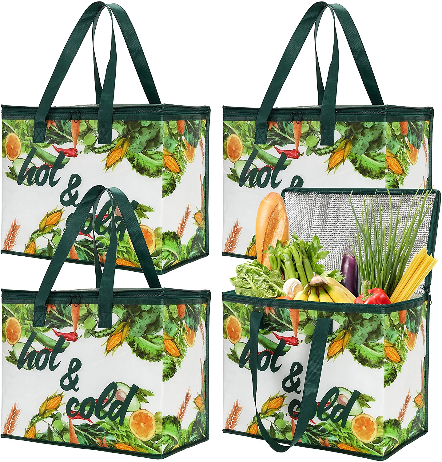 Bekith 4 Pack Insulated Reusable Grocery Bag, X Large Cooler Bags, Shopping Tote with Zippered Top for Hot and Cold Food Transport, Wine Tote, Drinks Carrier, Stands Upright, Collapsible