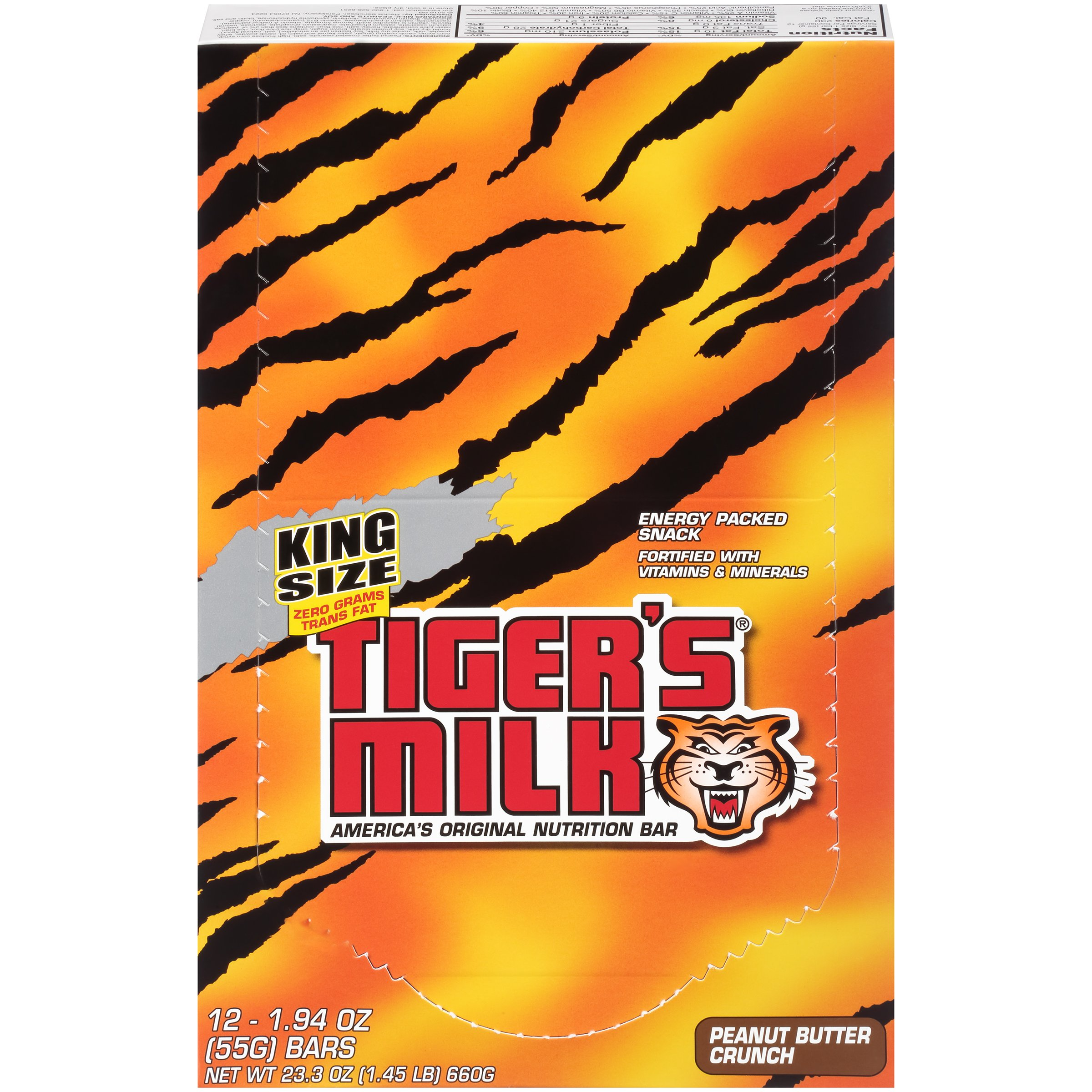 Tiger's Milk Nutrition Bar (Peanut Butter Crunch, King Size, Bulk Protein Bars), 55 Gram (Pack of 96)