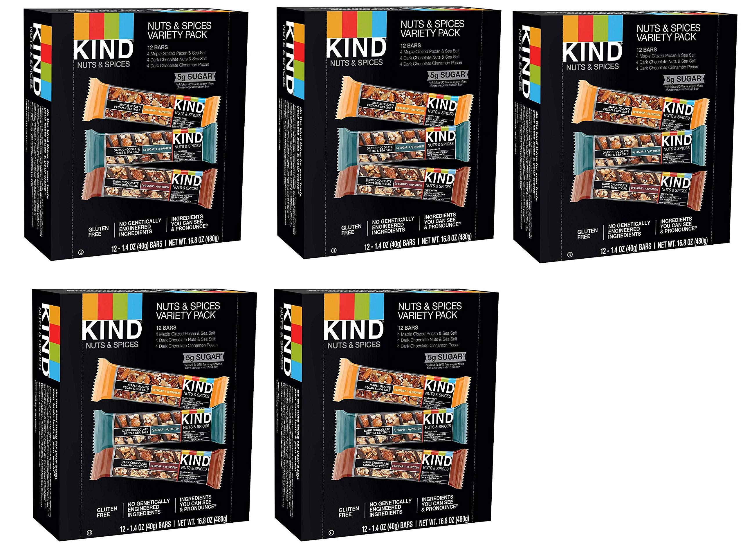 KIND Bars, Nuts and Spices Variety Pack, Gluten Free, 1.4oz (60 Bars)