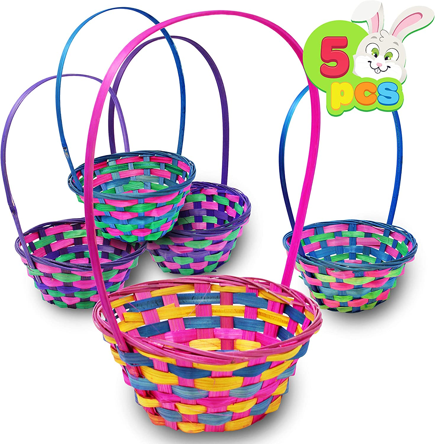 Deluxe Bamboo Easter Baskets 5 Pieces Multicolor Round Shapes Straw Woven Basket For Easter Theme Garden Party Favors Easter Eggs Hunt Easter Goodies Goody By Joyin Toy Amazon Co Uk Kitchen Home