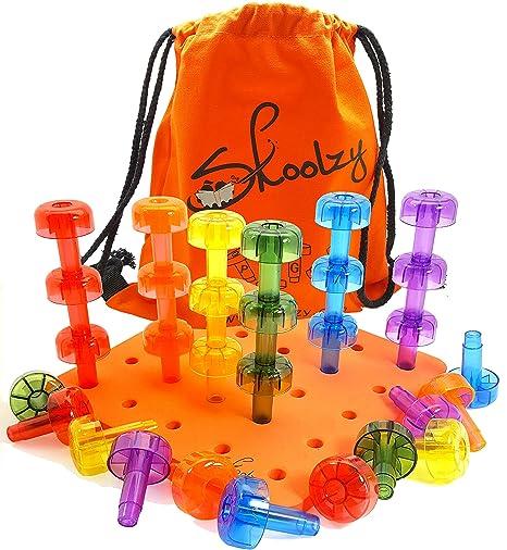 Amazoncom Crystal Pegboard Stacking Toddler Toys Skoolzy Peg