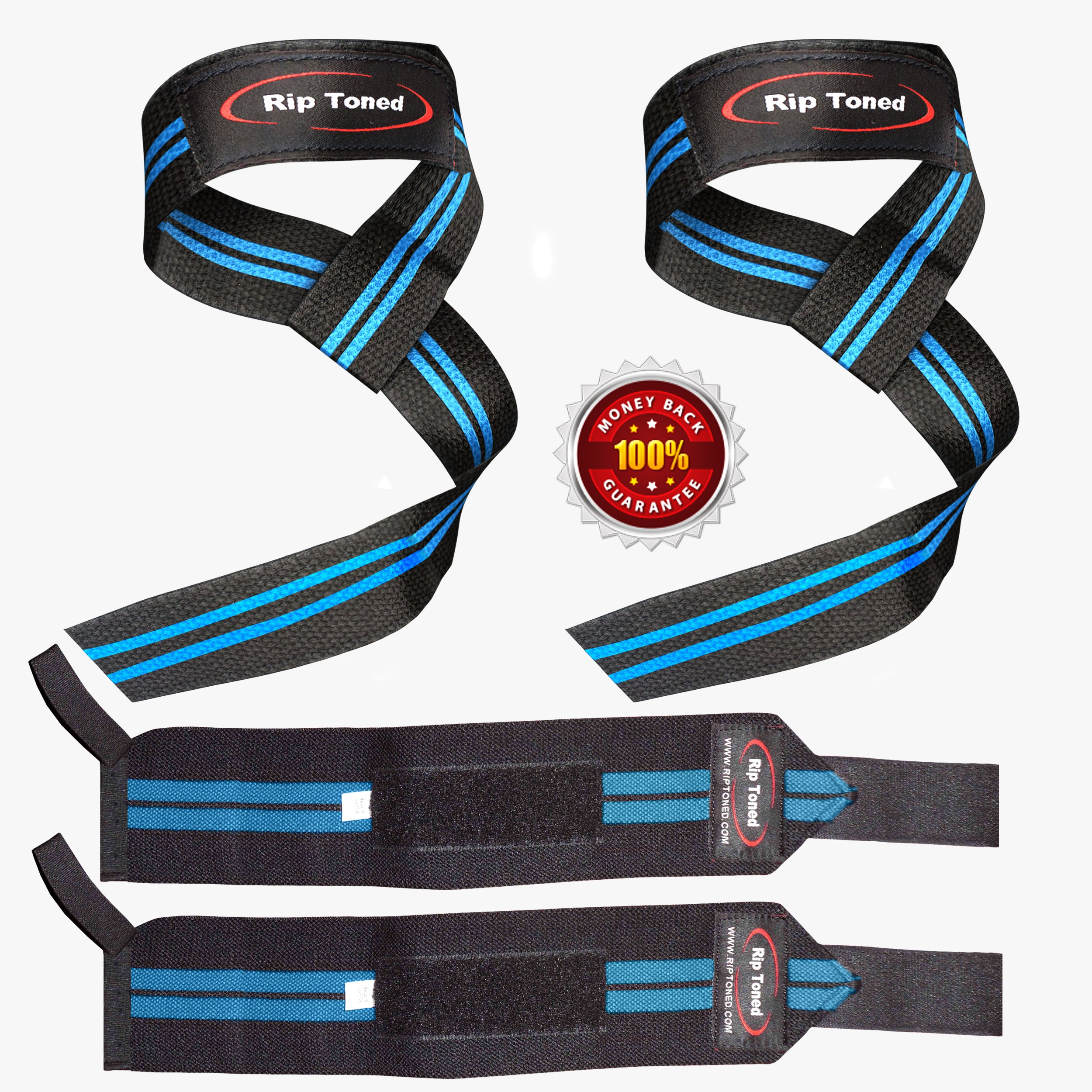 Rip Toned Lifting Straps + Wrist Wraps Bundle (1 Pair of Each) Bonus Ebook for Weightlifting, Xfit, Workout, Gym, Powerlifting, Bodybuilding - Lifetime Replacement Warranty! by Rip Toned