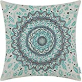 CaliTime Canvas Throw Pillow Cover Case for Couch Sofa Home Decor, Floral Compass Leaves Medallion, 18 X 18 Inches, Turquoise