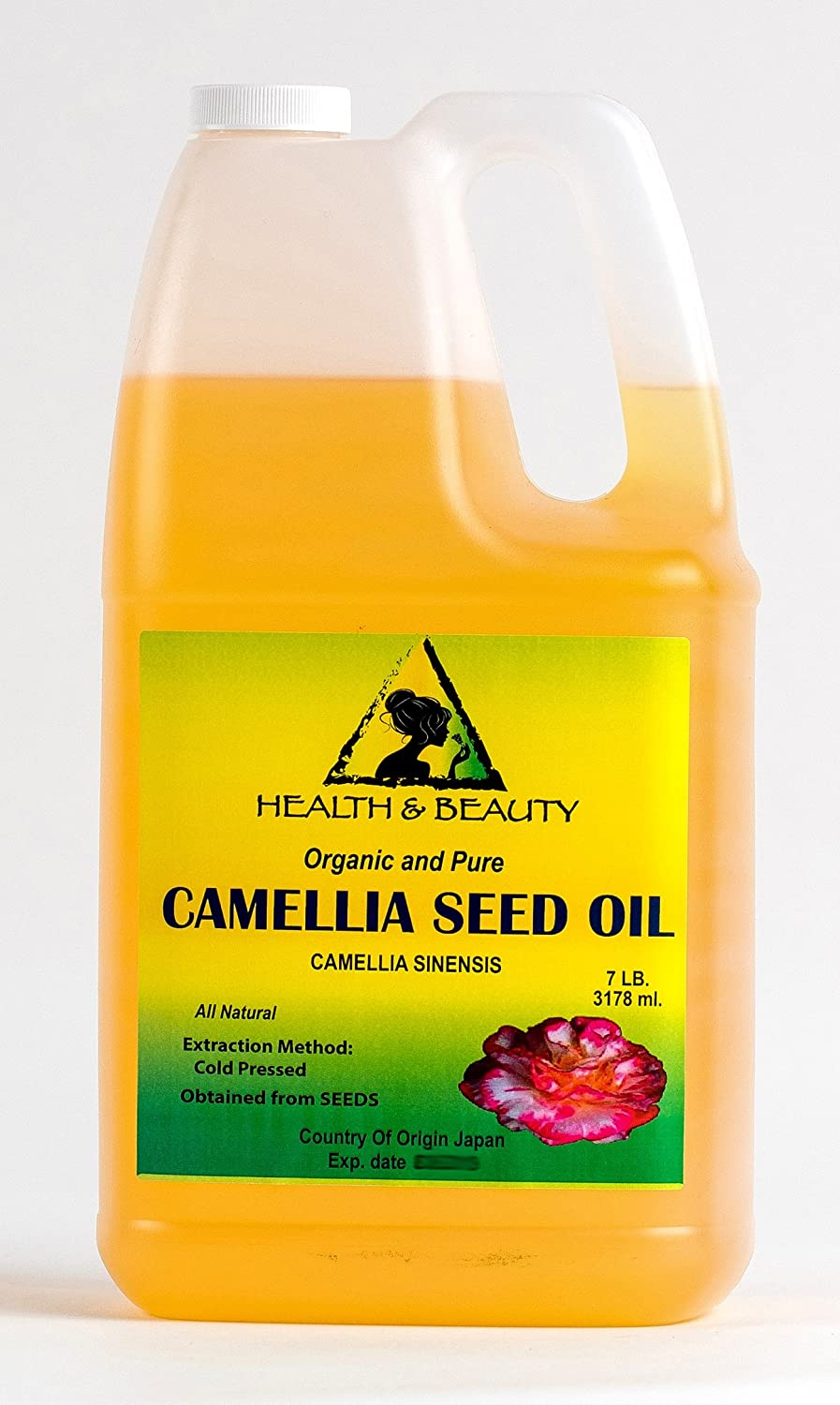Camellia Seed Oil Organic Carrier Cold Pressed 100% Pure 7 LB, 1 gal, 3178 ml H&B OILS CENTER Co.