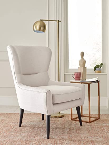 Elle Decor UPH10058D Wingback Chair, Ivory