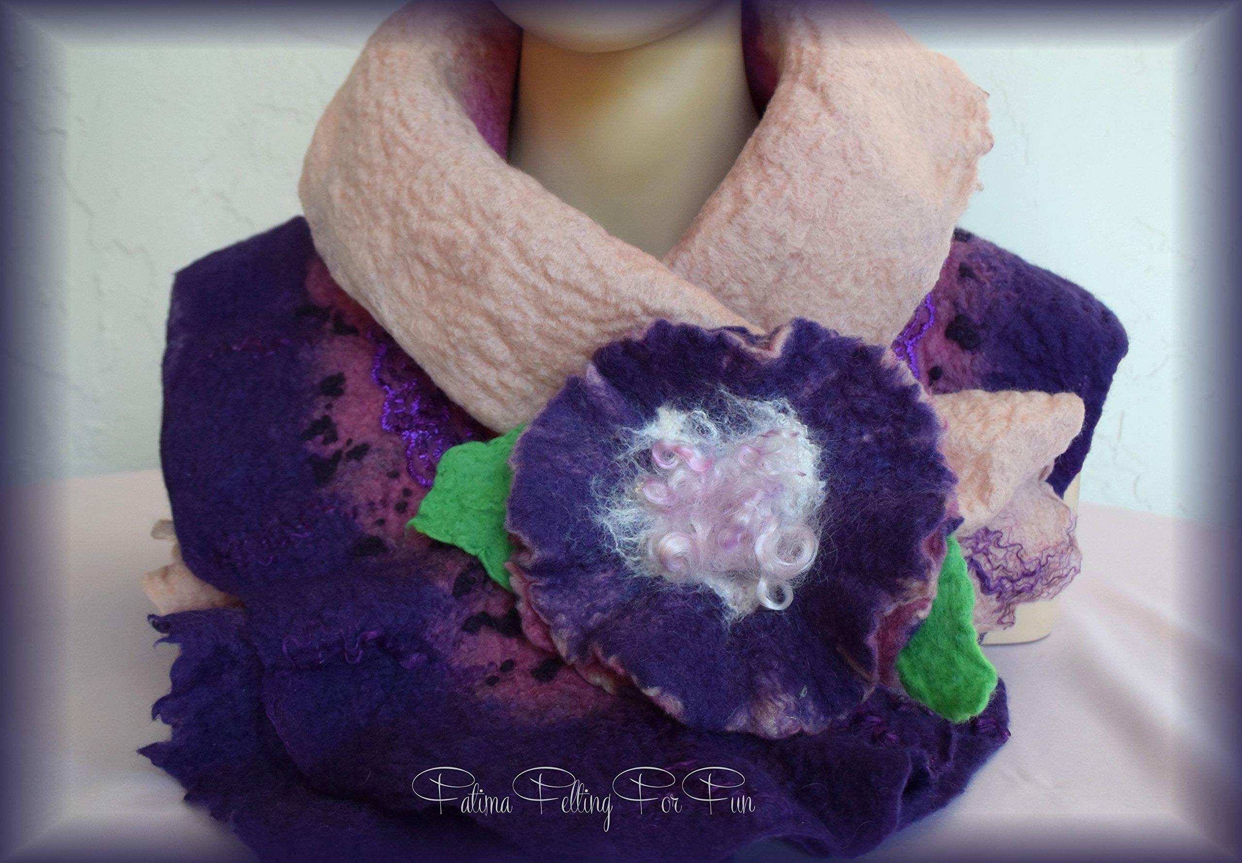 Purple Shade Scarf & Flower Brooch by Fatima Felting For Fun
