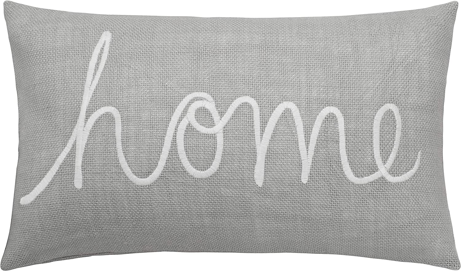 """MANOJAVAYA Home 12""""x20"""" Grey Burlap Embroidered Decorative Oblong Pillow Throw Cover for Entryway Housewarming Bench Couch Beach House Living Room Farmhouse Guest Bedroomr (12""""X20"""", Home(Grey))"""