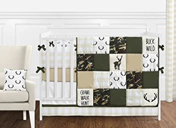 Sweet JoJo Designs Green And Beige Deer Buffalo Plaid Check Woodland Camo  Baby Boy Crib Bedding