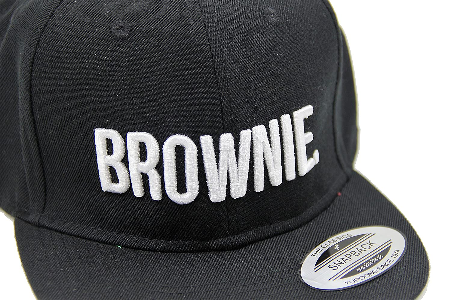 df42a5f0ff120c ASVP Shop® 5-Panel Snapback Cap with Embroidered 'Brownie' Lettering Flat  Peak and Stylish Retro Hiphop/Rapper Design in Black with White Text - Size  ...