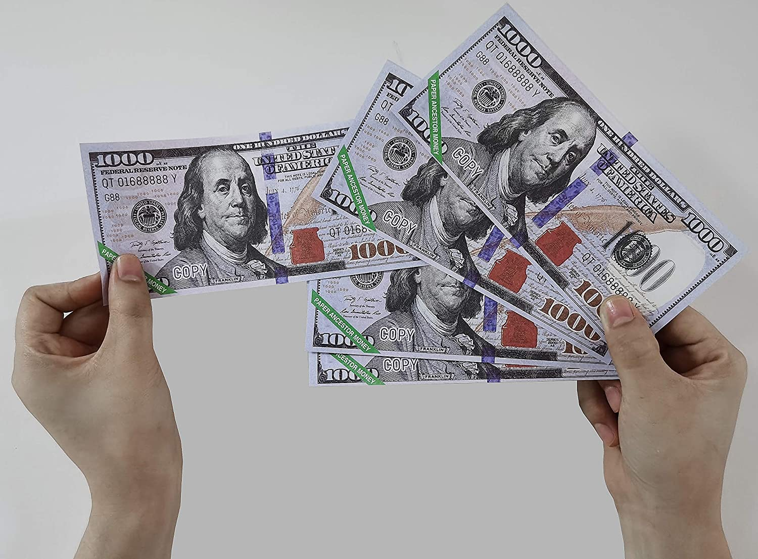 160 Piece Joss Paper US Dollar ,1000 Dollar Hell Bank Notes Strengthen Connection with Your Ancestor Bring Good Fortune Ancestor Money