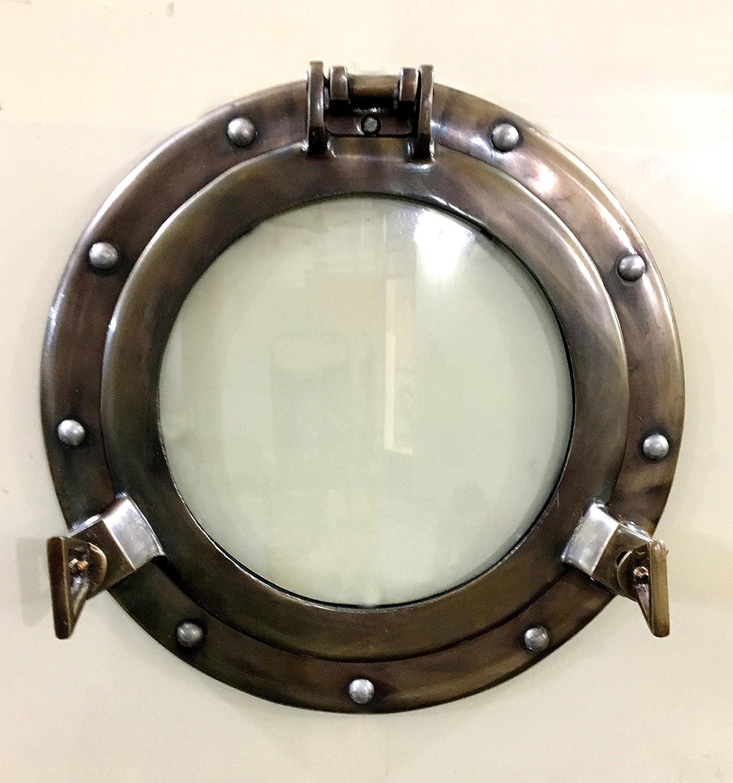 """Marine Nautical Store 11"""" Antique Canal Boat Porthole-Window Ship Round Glass Wall Decor Porthole"""