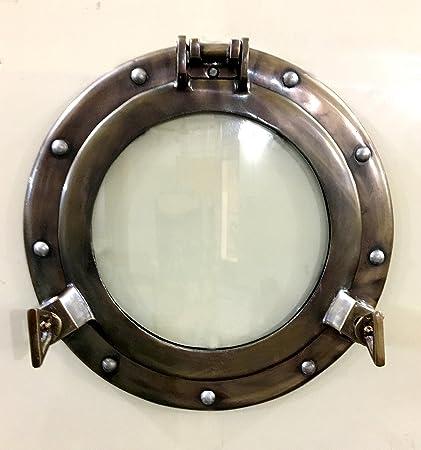 Antique Finish Ship Porthole Window Aluminum Porthole Mirror Nautical Wall Decor Antiques