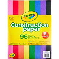 """Crayola Construction Paper 9"""" x 12"""" Pad, 8 Classic Colors (96 Sheets), Great for Classrooms & School Projects, Assorted"""