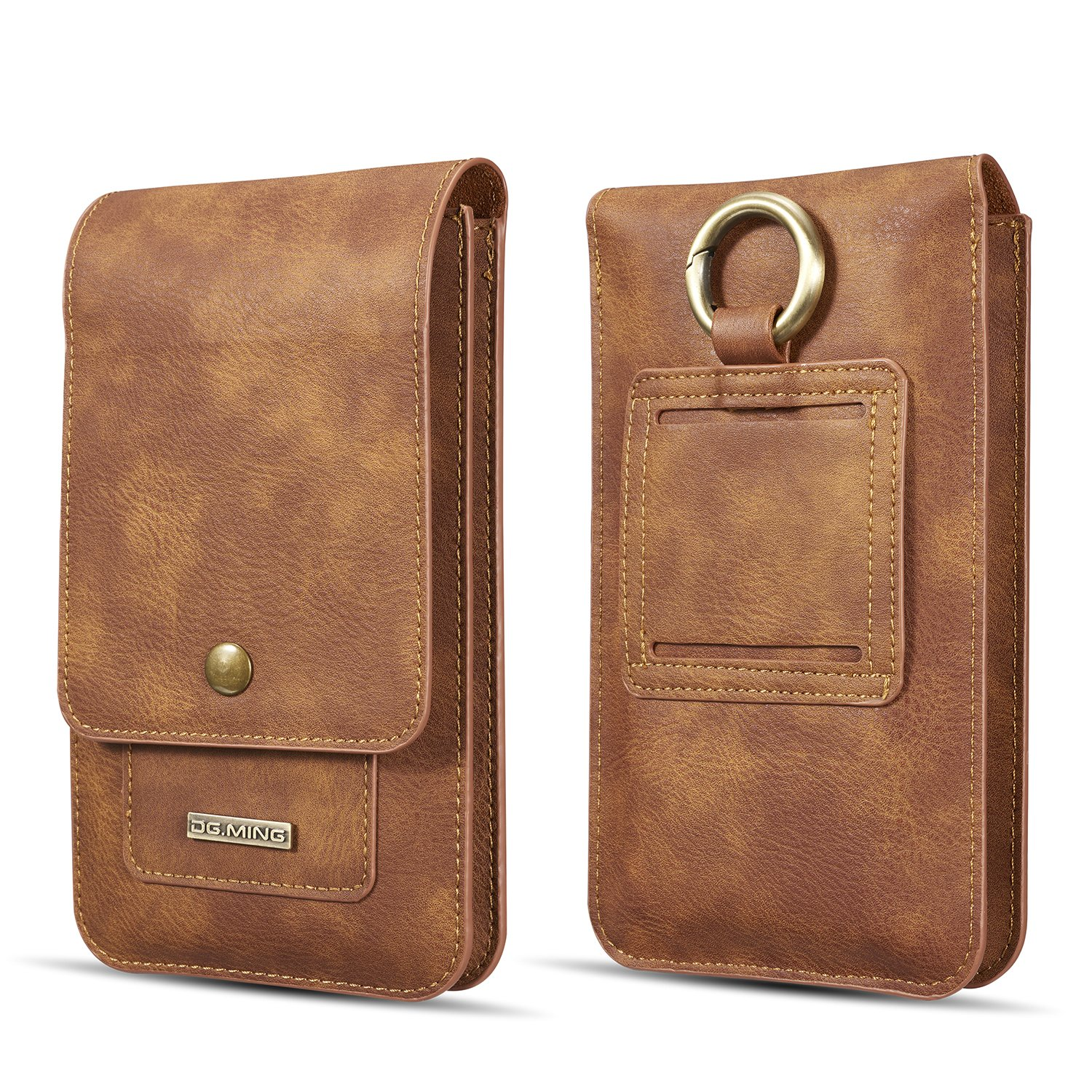 iphone X Holster, DG.MING(TM), Durable, High Grade, Universal Leather Holster Belt Clip Pouch Carrying Case with Card Slot & Double Pockets Design for All Smartphone Below 5.2 Inches (Brown, 5.2in)