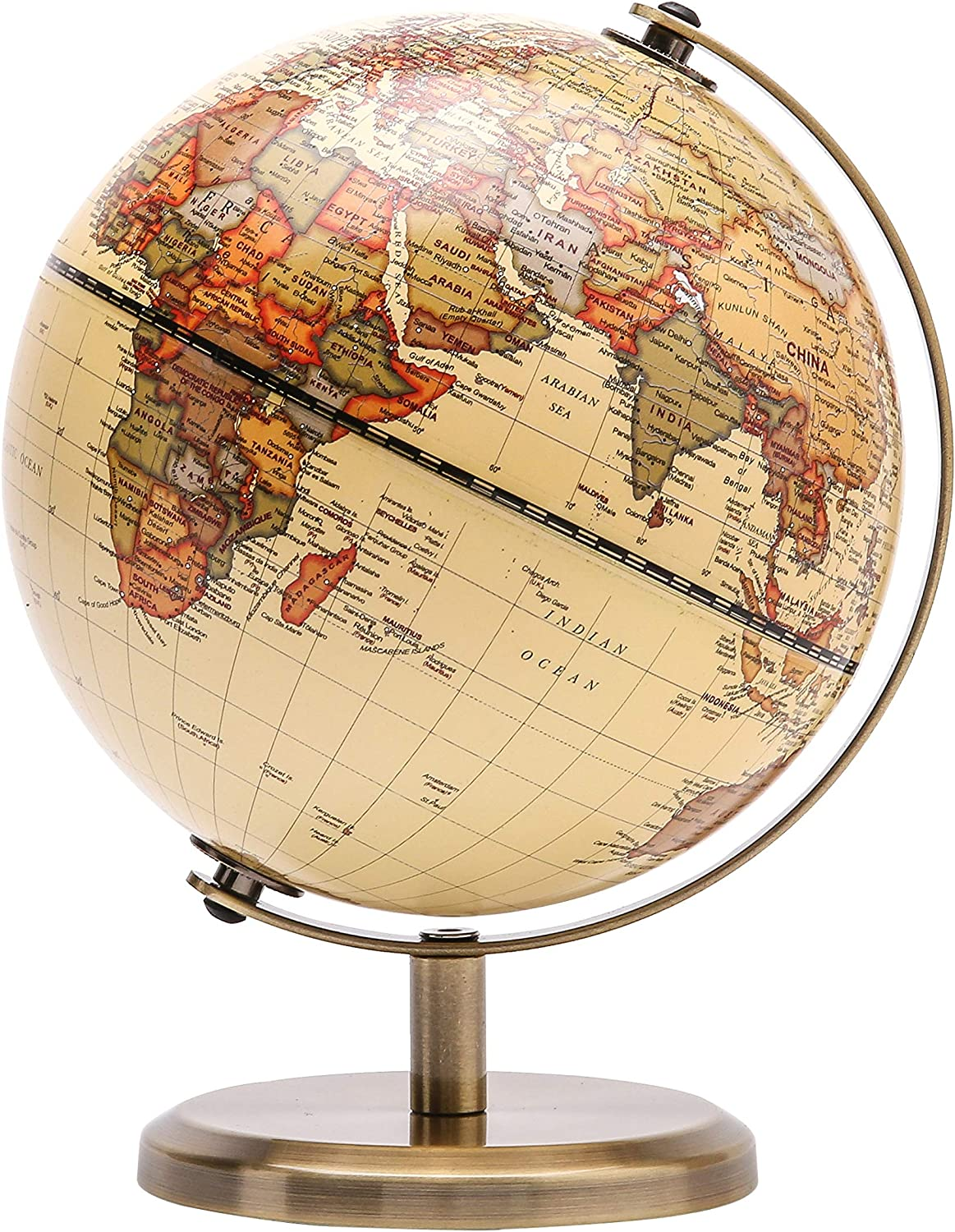 "Exerz Antique Globe Dia 5.5-inch / 14CM - Educational/Geographic/Modern Desktop Decoration - Stainless Steel Arc and Base - for School, Home, and Office (Antique 5.5"")"