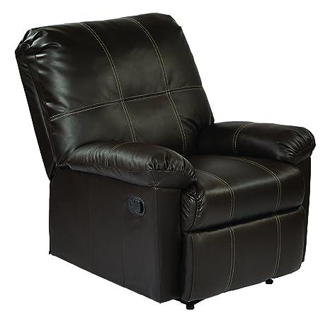 Awe Inspiring Office Star Kensington Bonded Leather Recliner Espresso Pdpeps Interior Chair Design Pdpepsorg