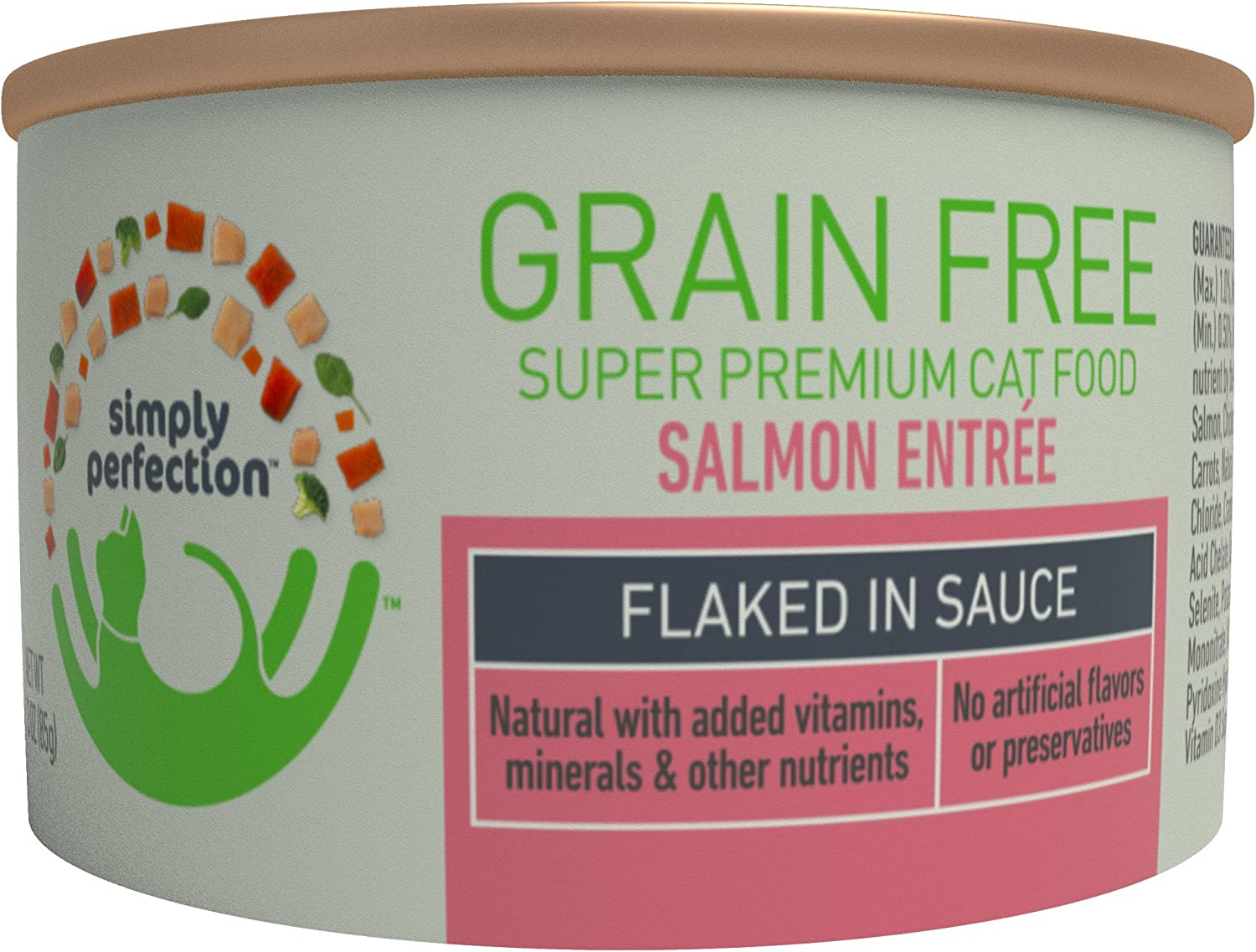 Simply Perfection Super Premium Grain Free Salmon Entree-Flaked 72Oz Case, 24 Cans