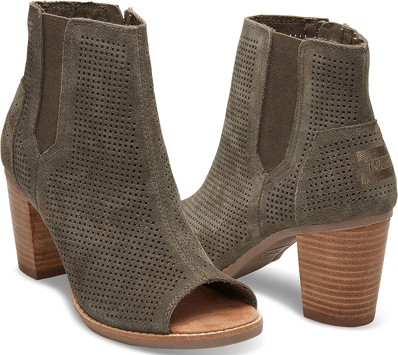 TOMS Majorca Peep Toe, Majorca, Chaussures Peep Toe. Femme Tarmac Olive Suede Perforated