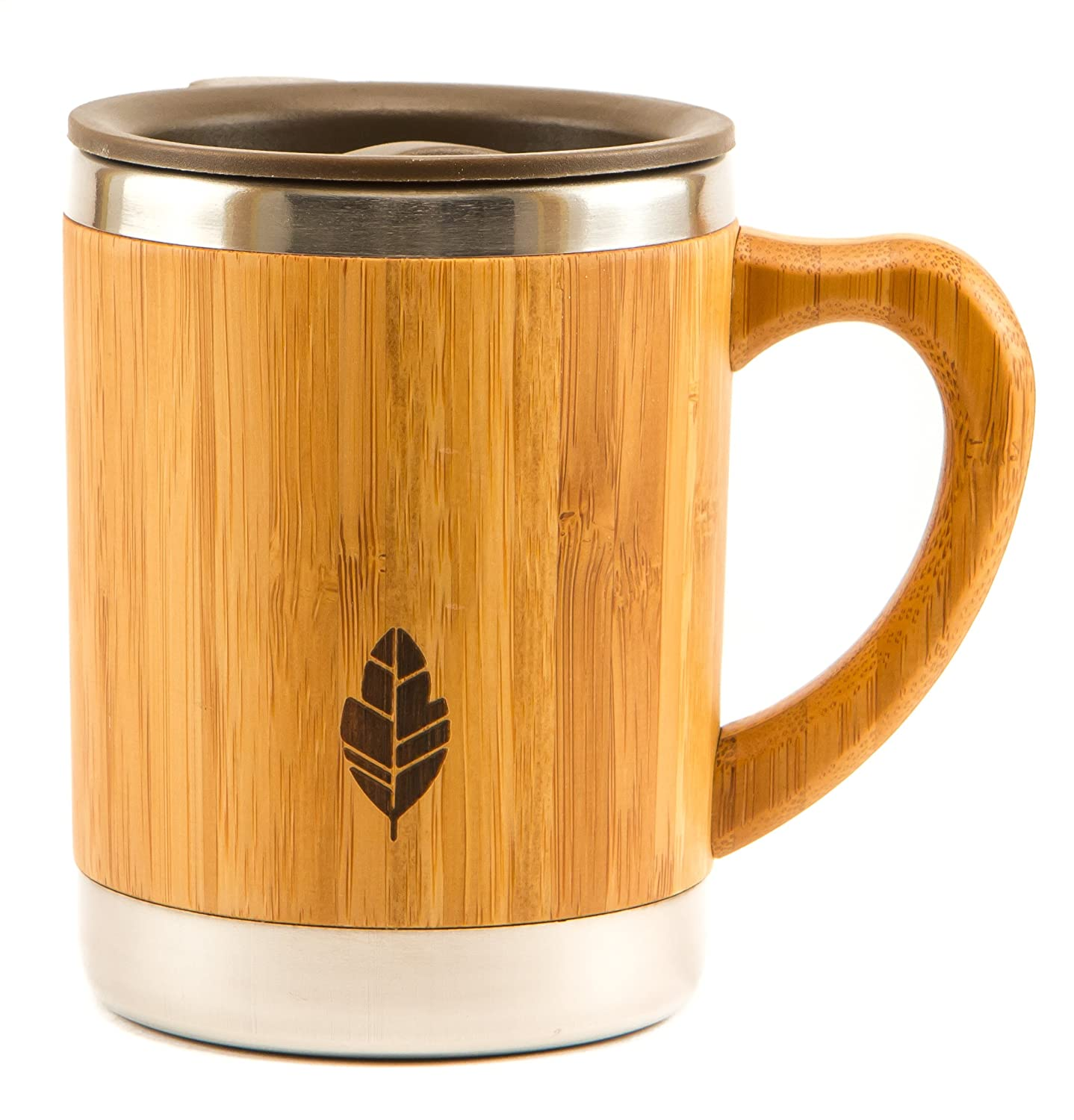 MyHomeIdeas Stainless Steel Bamboo Mug with Lid and Handle - Natural Wood Wooden Light Coffee Tea Mug - 11 oz Non-breakable Design - 100% Eco And Environmentally Safe BM-01