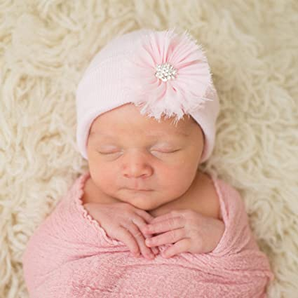 0985043610b Amazon.com  Melondipity s Newborn Girl Pink Beanie with Pink Frayed Flower  Nursery Hospital Hat  Clothing