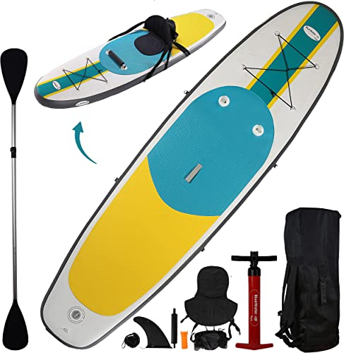 Inflatable SUP Paddle Board Kayak Hybrid (Youth & Adult Standing Boat) [Blue Water] Picture