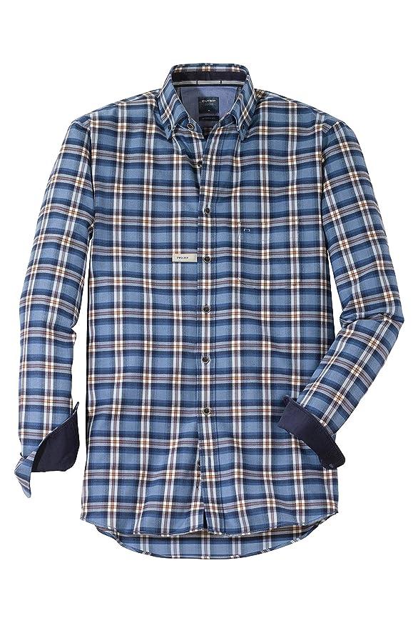 Olymp - Camisa de Manga Larga, diseño de Cuadros, Color Azul y Caramelo: Amazon.es: Ropa y accesorios